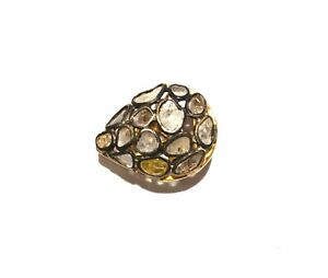 Handmade Style 1 PC Rose Cut Polki Diamond Beads 925 Sterling Silver