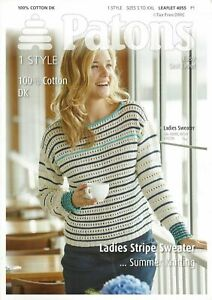 c2695764d Patons 4055 Knitting Pattern Double Knit DK Ladies Cotton Striped ...