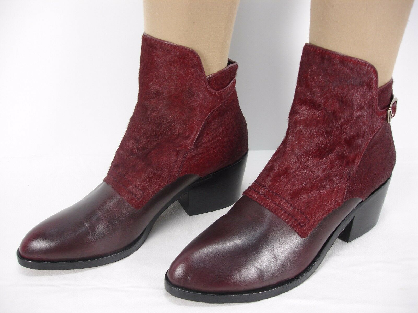 ALEXANDER WANG CARA BURGUNDY LEATHER CALF HAIR ANKLE bottes femmes 37 MINT