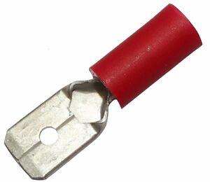 Bien 10x Cosse électrique Mâle Plate 6.3mm 0.8mm 0.5-1.5mm2 Isolée Rouge