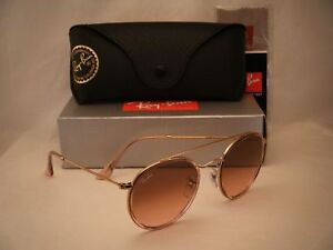 Ray Ban 3647N Round Double Bridge Pink Copper w Pink Gradient ... 123eb17138