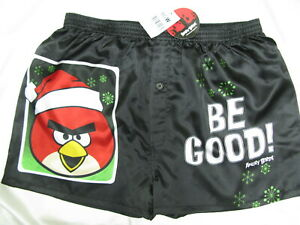 Mens-boxers-shorts-X-039-mas-Angry-Birds-Be-Good-soft-satin-Size-L-1777-Acorn-k