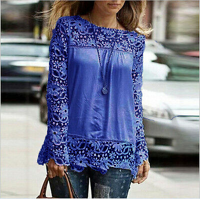 Women Casual Chiffon Breathable Hollow Lace Embroidery Long Sleeve Top Blouse