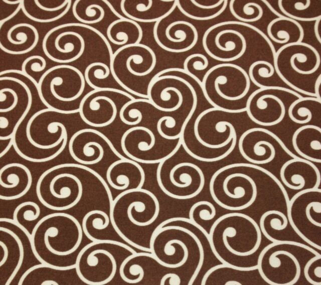 BETTER HOME & GARDEN SCROLL BROWN CREAM OUTDOOR FURNITURE FABRIC BY THE YARD