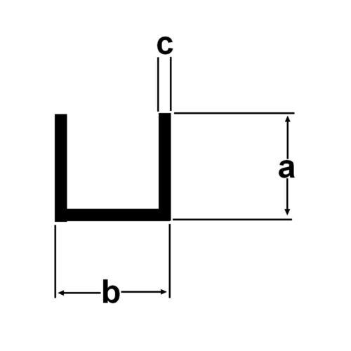 Alu U-Profil 10x15x10x1mm Aluminium blank 2 Meter U Profil AlMgSi 0,5 1,10€//m