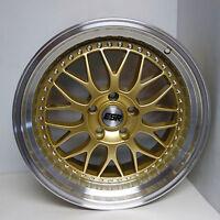 17x9.5 Sr01 Gold Wheels Hella Flush Fit Acura Tsx Rsx Ilx Honda Civic Si Accord