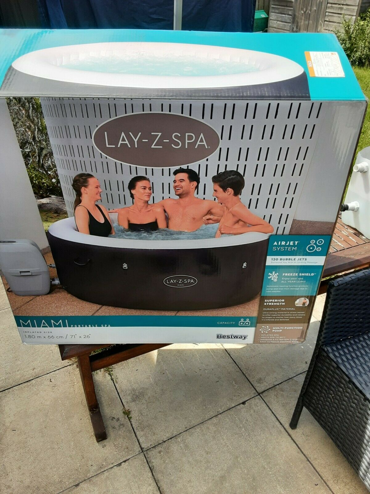 BRAND NEW 2021 Bestway Lay Z Spa MIAMI Airjet Liner / Tub - NO HEATER OR LID