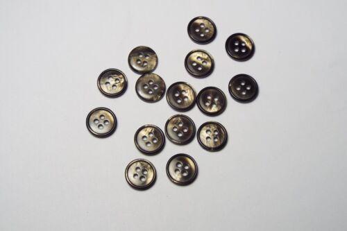 10pc 15 mm Opaque Marron Pearl Shell Shirt Costume Cardigan Knitwear Bouton 3813