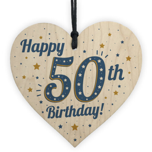 Handmade 50th Birthday Keepsake Wooden Heart Plaque Card Friendship Gift Party