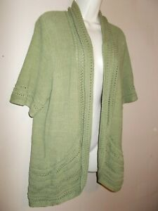Details about Sonoma Womens Size XL Nice Green Cardigan Open Sweater Cable Knit Trim Short Slv