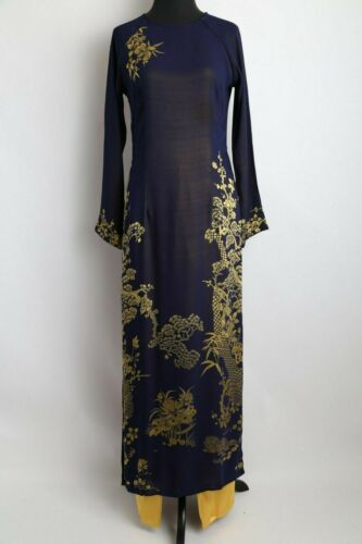 Ao Dai Vietnam M-XL Navy Blue Metallic Gam Floral Ao Dai w// Pants