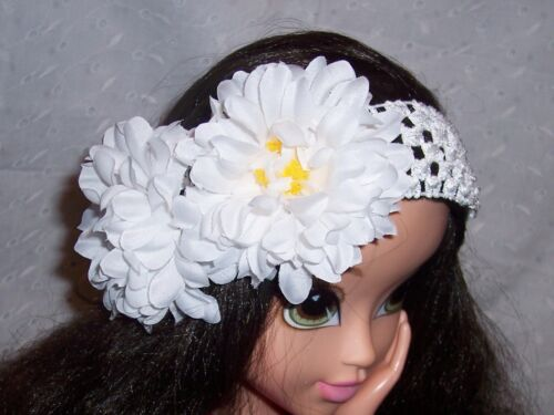 INFANT GIRL WOMEN TWO FLOWERS STRETCHABLE HEADBAND
