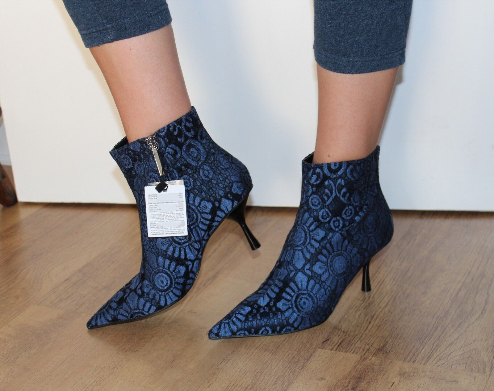 ZARA Blue Jacquard Fabric Detail Pointed Ankle Boots UK 3  EU 36 Casual Formal