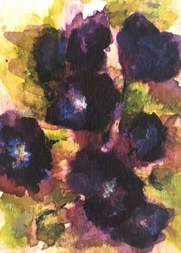 """ACEO ATC Signed Print """"Morning Glories"""" Art Artist Trading Card In Sturdy Sleeve"""
