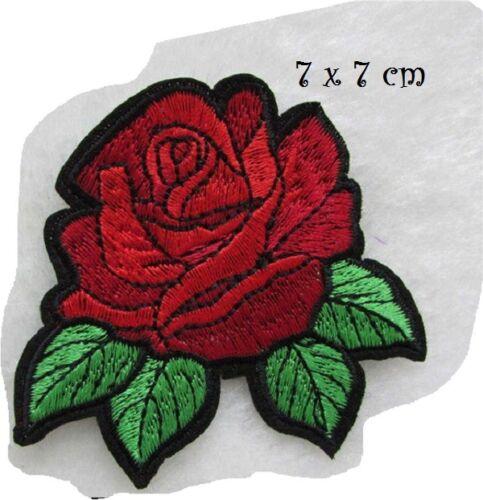 C5626 FLEUR ROSE ROUGE ** 7 x 7 cm ** APPLIQUE ÉCUSSON PATCH THERMOCOLLANT