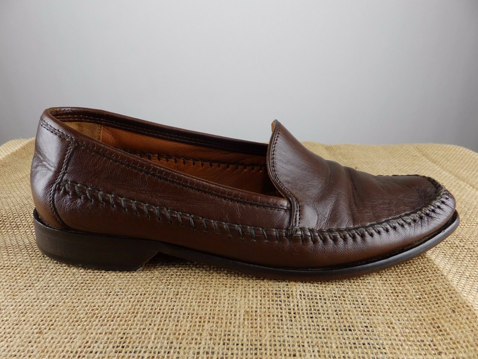 CALZOLERIA TOSCANA Hefatto Loafer Slip On Marronee Leather sautope Men 9 D M Sautope classeiche da uomo