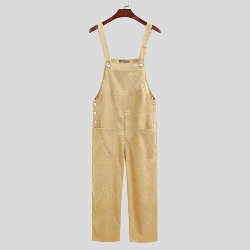 Mens Vintage Corduroy Overalls Sleeveless Jumpsuits Rompers Long Pants Dungarees