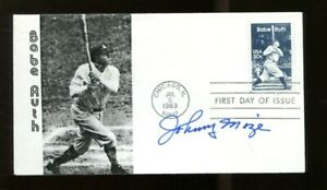 Johnny-Mize-Signed-Babe-Ruth-FDC-First-Day-Cover-Autographed-Cardinals-56221