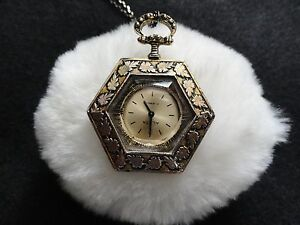 Alsta 17 Jewels Wind Up Necklace Pendant Watch with the Chain - Pretty!