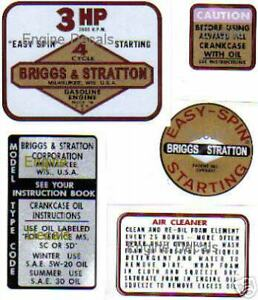 Briggs-amp-Stratton-Minibike-label-3-hp-old-school-Set-of-5