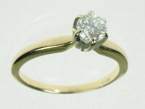 14K Solid Yellow gold 1 2CT Diamond Solitaire Engagement Estate Ring J197246