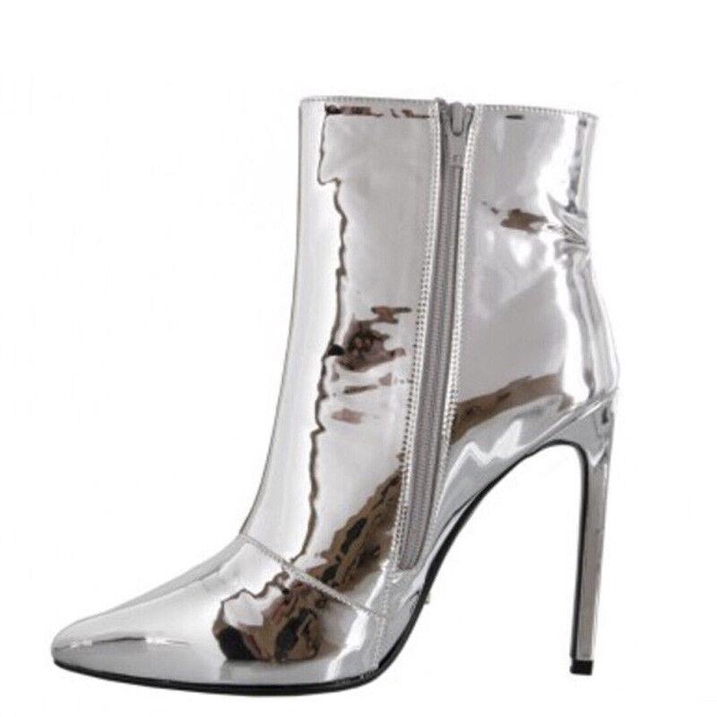 Mujeres Brillante Cremallera Taco Alto Alto Alto Puntera en Punta Club nocturno Tobillo botas Zapatos Talla Grande  Precio al por mayor y calidad confiable.