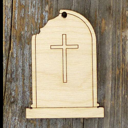 10x Wooden Grave Stone Round Broken F Craft Shape 3mm Ply Halloween Decoration