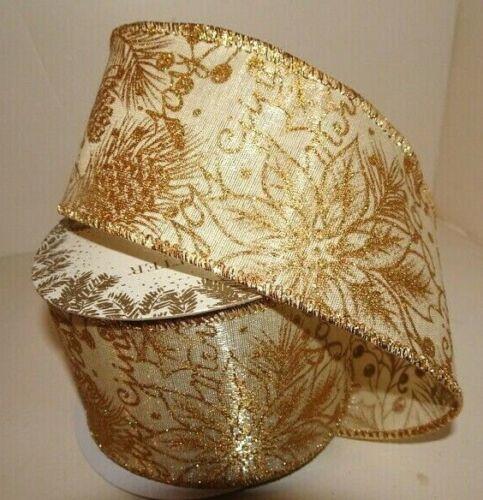 """Trimsetter Dillards GOLD GLITTERED POINSETTIA  2 1//2/"""" Wired Ribbon New in Pkg"""