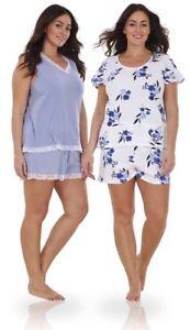 019ea0955e7 Ladies Plus Size Floral Print Lace Curve PJ T Shirt Shorts Vest Pyjamas