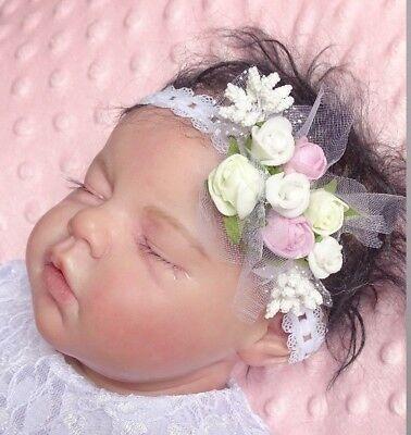 Neugeborenen Baby Mädchen Stirnband Blume 79a Haarband Kopfband Taufe Fotografie