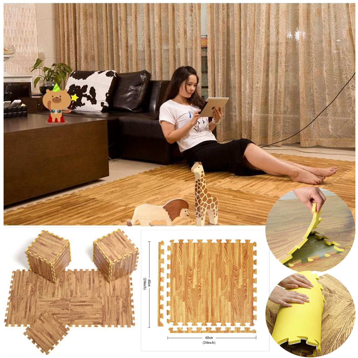 INTERLOCKING EVA WOOD EFFECT MATS GYM YOGA OFFICE FOAM FLOOR GARAGE KIDS ROOM
