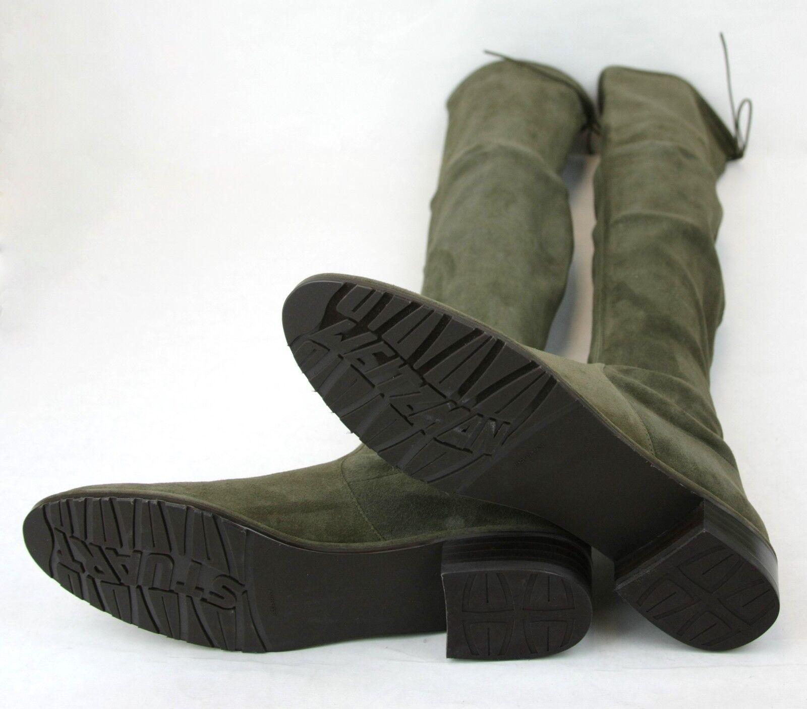 Neu Stuart Weitzman Lowland Loden Grün Veloursleder Overknee Stiefel Stiefel Stiefel 64fa7f