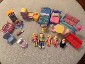 Huge-Lot-Fisher-Price-Loving-Family-Dollhouse-Dolls-Furniture-Baby-Beds-Kitchen