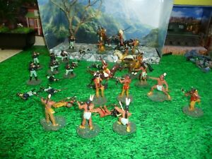 INDIANS-US-CAVALRY-BATTLE-LOT-PAINTED-1-32-PLASTIC-LOOK