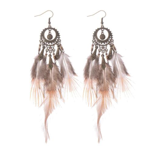 Bohême Boho sculptée ronde et flèche cristaux Feather Femmes Dangle Boucles d/'oreilles
