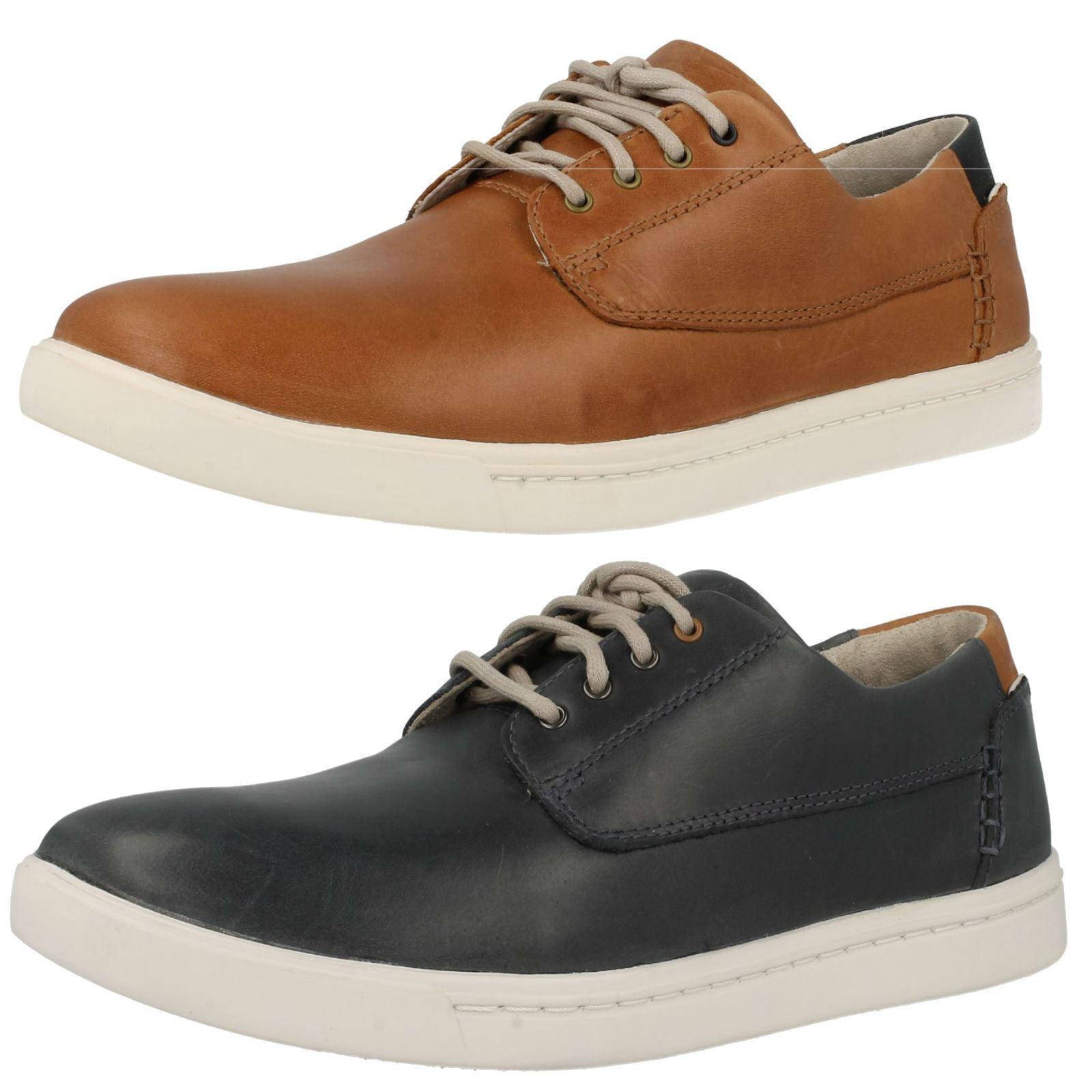 Herren Clarks Plus Leder Freizeit Sportlich Schnürer Turnschuhe Schuhe Newood