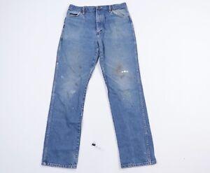 Vtg-80s-Rustler-Mens-34x32-Distressed-Faded-Straight-Leg-Denim-Jeans-Talon-USA