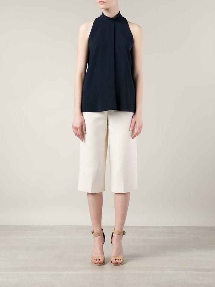 THE ROW 'Ropla' navy pleated stretch-cady sleeveless high neck blouse top - 6