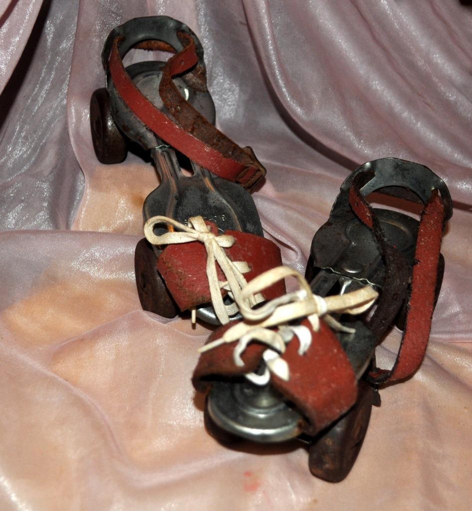 50er Jahre Vtg Pr Kinder Metall Roller Training Schlittschuhe, Lederriemen &