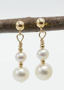 #BE-101 New 14K Solid gold natural cultured white double pearl drop earrings