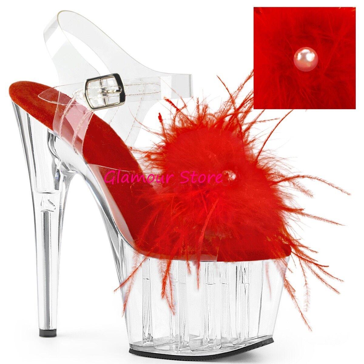 Sexy SANDALI PIUME MARABOU tacco 18 dal 35 a 41 plateau NERO ROSSO BIANCO scarpe