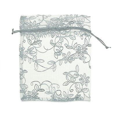 25pcs 10cmx12cm White Leaf&Flower Organza Gift Pouch Bags Wedding X-mas Favor