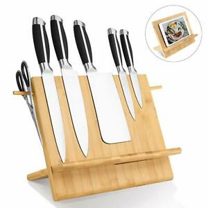 Bamboo-Magnetic-Knife-Block-Holder-Cutlery-Storage-Organizer-Book-Display-Stand