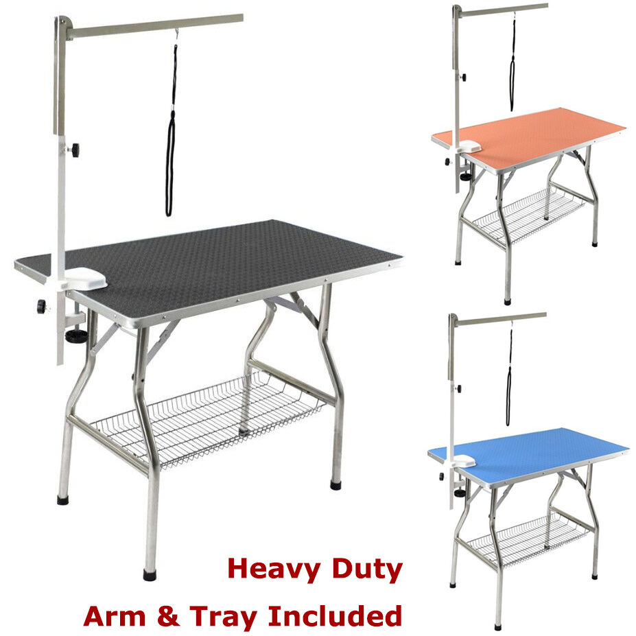 Heavy Duty Grooming Table, Stainless Steel Frame, Rubber Surface by Flying Pig™