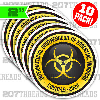 Essential Worker Hardhat Sticker Decal 10 Pack of 2 Brave and Essential 10