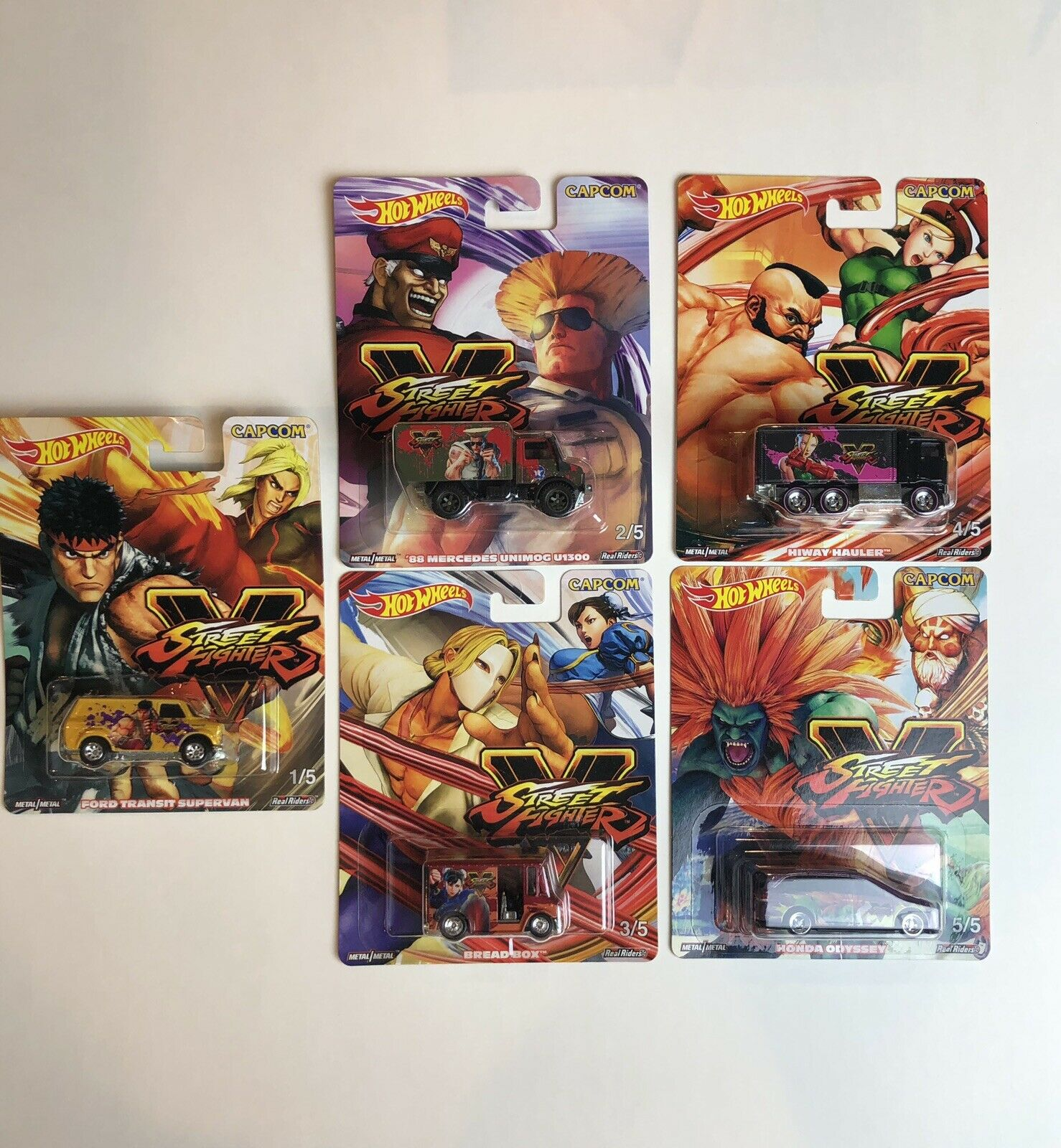 Hot Wheels 2019 CAPCOM STREET FIGHTER complete set of 5 BRAND NEW