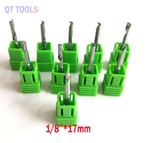 "10pcs 1//8/""Carbide Single Flute Spiral Flat Nose End Mill CNC Router Bits  Right"
