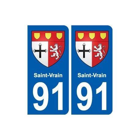 91 Saint-Vrain blason autocollant plaque stickers ville -  Angles : arrondis