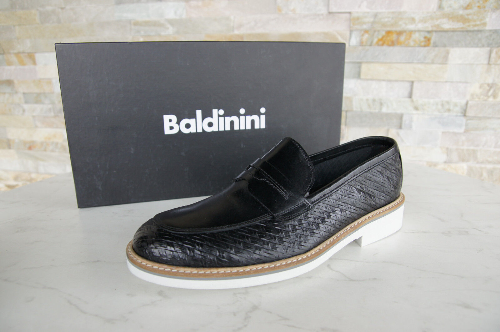 Baldinini Size 42 Slippers Loafers Moccasins shoes Black New Formerly Rrp