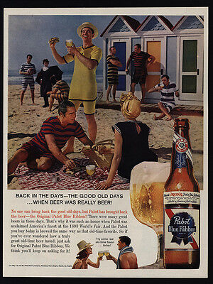 1960 PABST Blue Ribbon Beer - 1893 Replica - Old Beach Bathing Suits  VINTAGE AD | eBay